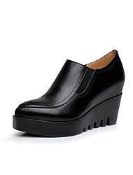 Для женщин Обувь на каблуках Формальная обувь Весна Осень Натуральная кожа На танкетке Черный 4,5 - 7 см