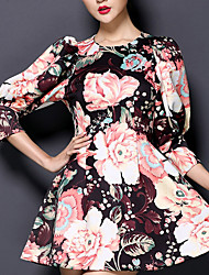 Women's Casual/Daily Simple A Line Sheath Swing Dress,Floral Round Neck Above Knee 3/4 Length Sleeves Polyester Spring Fall Low Rise