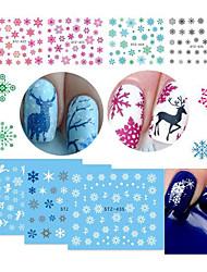 18 Стикер искусства ногтя Наклейка для переноса воды 3-D Рождество Новый год Компоненты для самостоятельного изготовления Стикер макияж