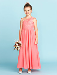 A-Line Princess One Shoulder Ankle Length Chiffon Lace Junior Bridesmaid Dress with Sash / Ribbon Pleats by LAN TING BRIDE®