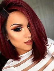 Mujer Pelucas sintéticas Sin Tapa Corto Liso Ondulado Natural Negro/Rojo Pelo de seda base Entradas Naturales Corte Bob Corte Pixie