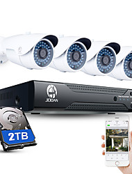 jooan® 4ch cctv nvr system h.264 poe 1080p видео выход водонепроницаемая ip-камера с 2tb hdd