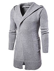 Men's Casual/Daily Regular Cardigan,Solid Hooded Long Sleeves Others Spring Winter Medium Micro-elastic