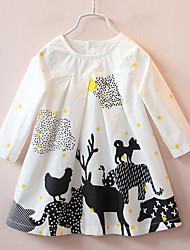 Robe Fille de Décontracté / Quotidien Fleur Coton Automne Hiver Manches longues