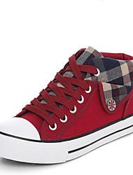 Damen Schuhe Leinwand Frühling Herbst Komfort Sneakers Flacher Absatz Runde Zehe Kombination Für Normal Schwarz Rot Blau