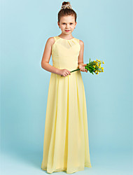 Sheath / Column Illusion Neckline Floor Length Chiffon Lace Junior Bridesmaid Dress with Pleats by LAN TING BRIDE®