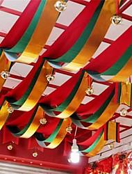 1 метр волны красный зеленый золотой три цвета ткани флаг для баннера украшения партии для рождественского дня