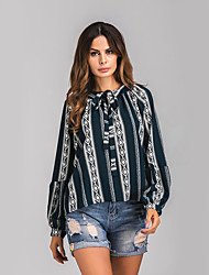 Women's Going out Street chic Spring Summer Shirt,Striped Crew Neck Long Sleeves Cotton Medium