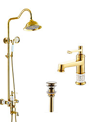 Antique Art Deco/Retro Modern Shower System Rain Shower Widespread Handshower Included with  Ceramic Valve Three Handles Two Holes for Shower Facet