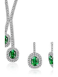Mulheres Brincos Compridos Colares com Pendentes Esmeralda Cristal Zircônia Cubica Zircônia cúbica Moda Jóias de Luxo Cristal Zircão
