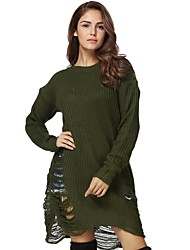Women's Plus Size Casual/Daily Work Simple Loose Shift Dress,Solid Round Neck Knee-length Long Sleeves Polyester All Seasons Low Rise
