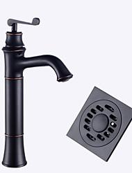 По центру Керамический клапан черный , Ванная раковина кран