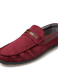 Для мужчин Мокасины и Свитер Удобная обувь Весна Осень Нубук Нейлон Повседневные На плоской подошве Черный Темно-синий Винный На плоской