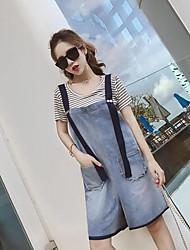 Mujer Simple Casual/Diario Verano T-Shirt Pantalón Trajes,Escote Redondo A Rayas Manga Corta Microelástico