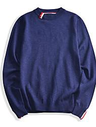 Standard Pullover Da uomo-Per uscire Monocolore Girocollo Manica lunga Altro Inverno Medio spessore Media elasticità