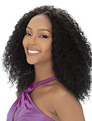 жен. Парики из натуральных волос на кружевной основе Полные парики шнурка 130% плотность Kinky Curly парики Евро-Азиатские волосы Черный