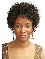 Mujer Pelucas sintéticas Sin Tapa Corto Rizado Marrón oscuro / castaño medio Para mujeres de color Pelo reflectante/balayage Peluca