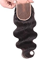 бразильское тело волна верхняя крышка необработанные человеческие волосы кружево закрытие отбеленные узлы с средней частью волос ребенка