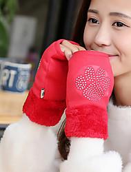 Для женщин Аксессуары На каждый день Зимние перчатки Сохраняет тепло Мода До запястья Полупальцами,Зима Шерсть Кроличий мех Полиуретановая