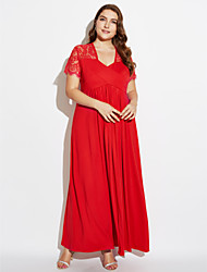 Women's Casual/Daily Sexy Swing Dress,Solid Deep V Maxi Short Sleeve Cotton Spring High Rise Micro-elastic Medium