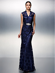 Sheath / Column V-neck Floor Length Lace Prom Black Tie Gala Dress with Beading by TS Couture®