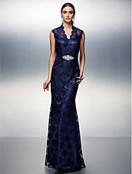 Mantel / Spalte V-Ausschnitt Boden Länge Spitze Prom schwarz Krawatte Gala-Kleid mit Perlen von ts couture ®