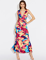 Women's Going out Daily Sexy Simple Bodycon Sheath Dress Print Deep V Maxi Sleeveless Cotton Polyester Summer Fall High Rise Rainbow