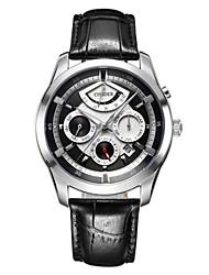 Homens Relógio de Moda Automático - da corda automáticamente Mostrador Grande Couro Legitimo Banda Preta Marrom