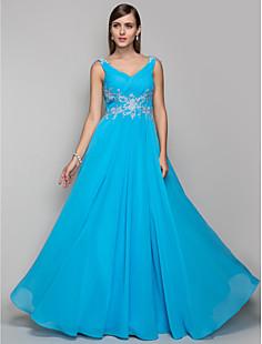 Free Measurements ! Sheath/Column V-neck Floor-length Chiffon Evening/Prom Dress (605486)