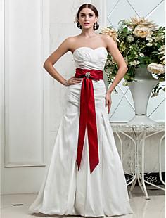 트럼펫 / 인어 연인지면 길이 호박단 그레이스 웨딩 드레스