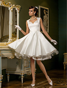 A-line Queen Anne Knee-length Satin Wedding Dress(788833)