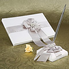 Guestbook / Pen Set-Satiini-Puutarha-teema-Faux Pearl Valkoinen1 page is for the bride and groom name,1 page is for the Bride's family,1