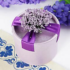 caixa redonda favor roxo com flores e fita (conjunto de 12)