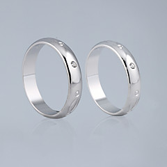 Amazing Cubic Zirconia With Alloy Plated Lovers Rings Set Of 2