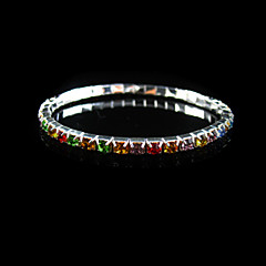 Multicolor Ladies' Rhinestone Wedding Tennis In Silver Alloy
