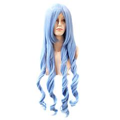 capless ekstra lang kropp bølge syntetisk cyan parti hår parykk