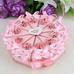 Kuchen zugunsten Box mit rosa Blumen und Farbband (set of 10)