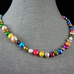 4-9MM Rainbow Color Genuine Freshwater Pearl Necklace – 18 Inch