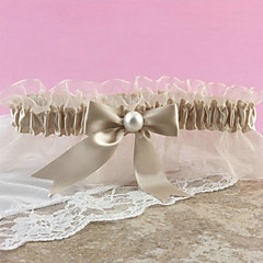 Champagne Satin Garter With Organza Bow