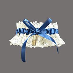 nydelig blonde / sateng med rhinestone bryllup strømpebånd