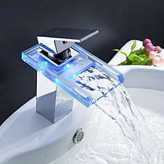 Sprinkle® Badarmaturen  ,  Moderne  with  Chrom Ein Griff Ein Loch  ,  Feature  for LED / Wasserfall / Mittelset
