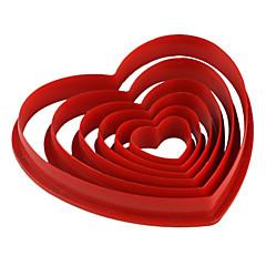 fondant kage diy udsmykning rødt hjerte formet cookie kiks cutter skimmel (6-pack) jg0053