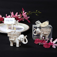 """Lucky Elephant"" Antique Ivory-Finish Tea Light Holder"