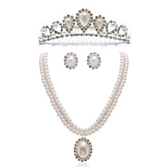 Gorgeous Clear Crystals And Imitation Pearls Jewelry Set,Including Necklace,Earrings And Tiara