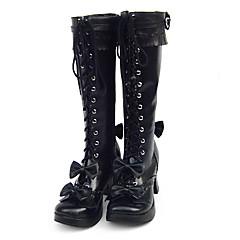 Sapatos Doce Confeccionada à Mão Salto Raso Sapatos Cor Única 3 CM Preto Para Feminino Couro PU/Couro de Poliuretano