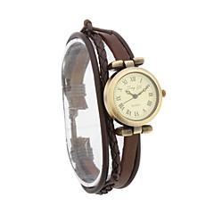 Fashion Women's PU Quartz Movement Glass Round Shape Dress Watch