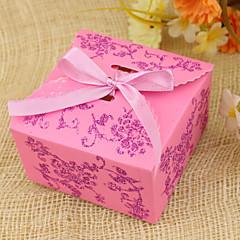 קופסות יפות פרחי עיצוב לטובת עם Robbon - סט של 12 (צבעים נוספים)