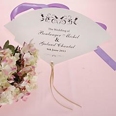 ventilador de mão personalizada pérola papel - flor preta (conjunto de 12)