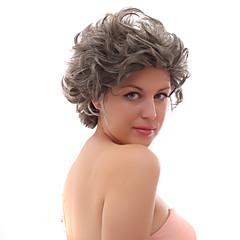 二十パーセントの人間の髪でフロントグレーショートカーリーミックス毛のかつらレース