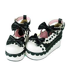 Sapatos Doce Confeccionada à Mão Salto Plataforma Sapatos Laço 7 CM Vermelho / Preto / Amarelo Para Feminino Couro PU/Couro de Poliuretano